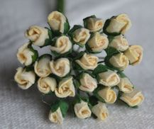 4mm IVORY ROSE BUDS Mulberry Paper Flowers